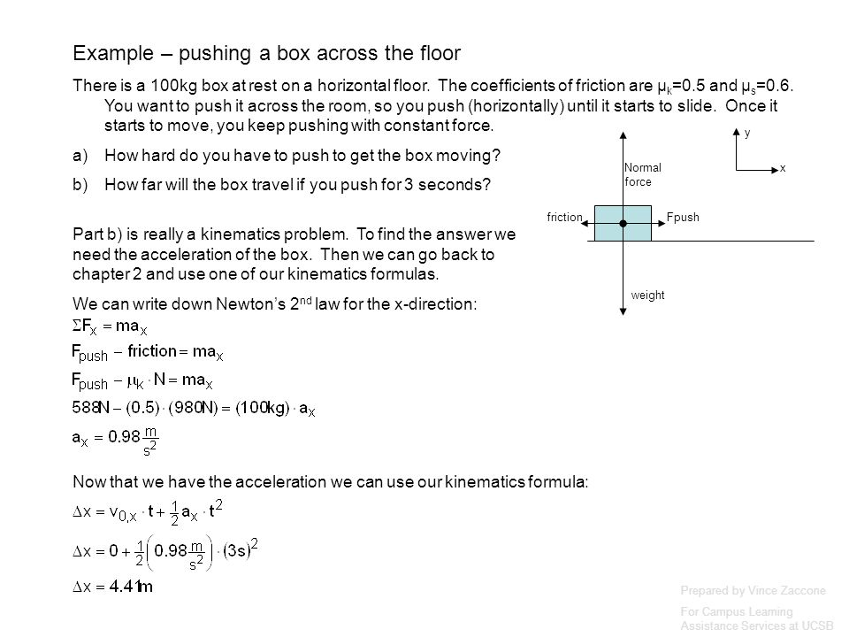 Prepared by Vince Zaccone For Campus Learning Assistance Services at UCSB weight Normal force Fpushfriction x y Part b) is really a kinematics problem