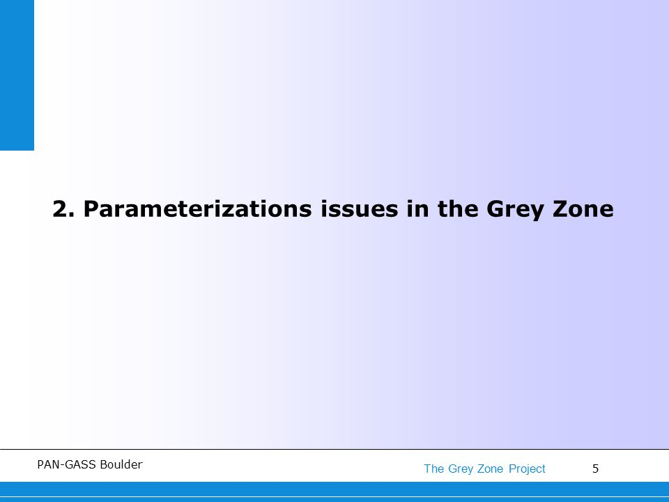 5 The Grey Zone Project PAN-GASS Boulder 2. Parameterizations issues in the Grey Zone