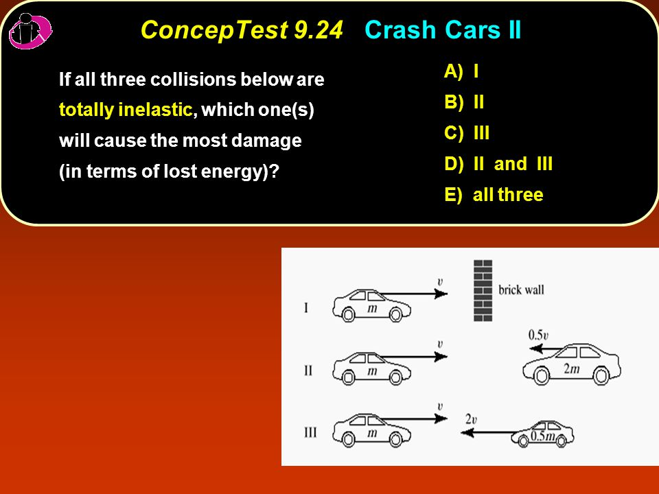 ConcepTest 9.24Crash Cars II ConcepTest 9.24 Crash Cars II If all three collisions below are totally inelastic, which one(s) will cause the most damage (in terms of lost energy).