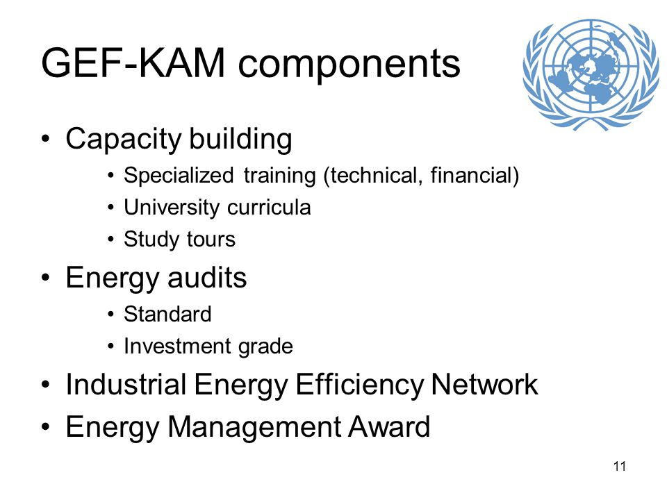 11 GEF-KAM components Capacity building Specialized training (technical, financial) University curricula Study tours Energy audits Standard Investment grade Industrial Energy Efficiency Network Energy Management Award
