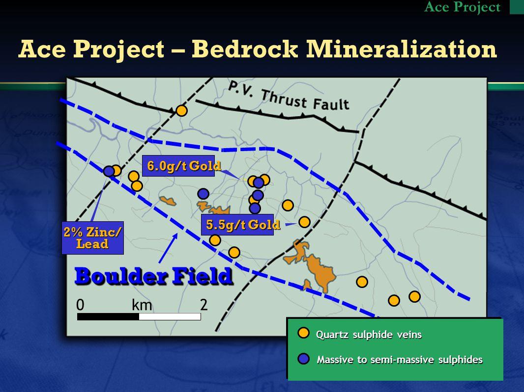 Boulder Field Ace Project – Bedrock Mineralization Quartz sulphide veins 5.5g/t Gold 2% Zinc/ Lead 6.0g/t Gold Ace Project Massive to semi-massive sulphides 0 km 2