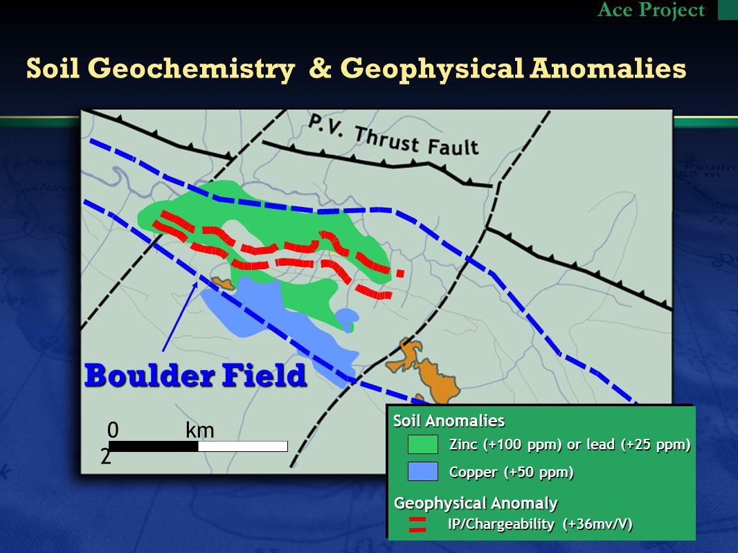 Soil Geochemistry & Geophysical Anomalies Ace Project Soil Anomalies Geophysical Anomaly Zinc (+100 ppm) or lead (+25 ppm) Zinc (+100 ppm) or lead (+25 ppm) Copper (+50 ppm) Copper (+50 ppm) IP/Chargeability (+36mv/V) 0 km 2 Boulder Field