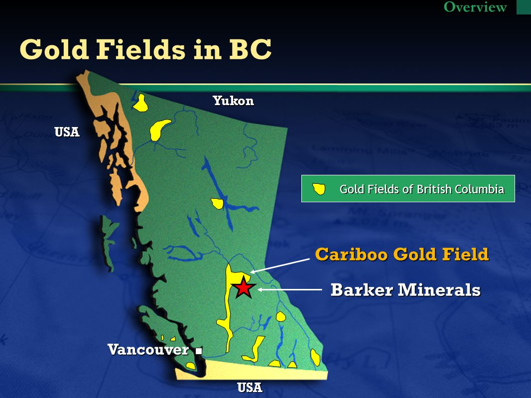Gold Fields of British Columbia Gold Fields in BC Vancouver USA Yukon USA Barker Minerals Cariboo Gold Field Overview