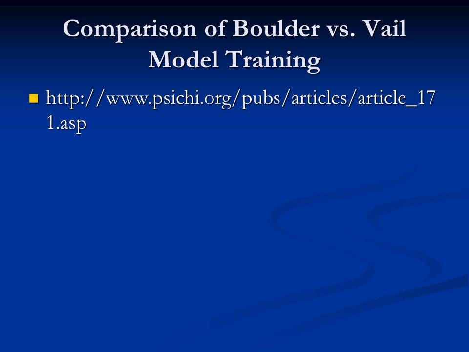 Comparison of Boulder vs. Vail Model Training http://www.psichi.org/pubs/articles/article_17 1.asp http://www.psichi.org/pubs/articles/article_17 1.as