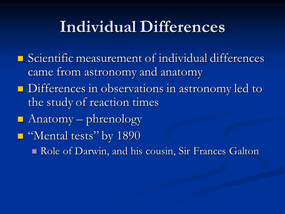 Individual Differences Scientific measurement of individual differences came from astronomy and anatomy Scientific measurement of individual differenc