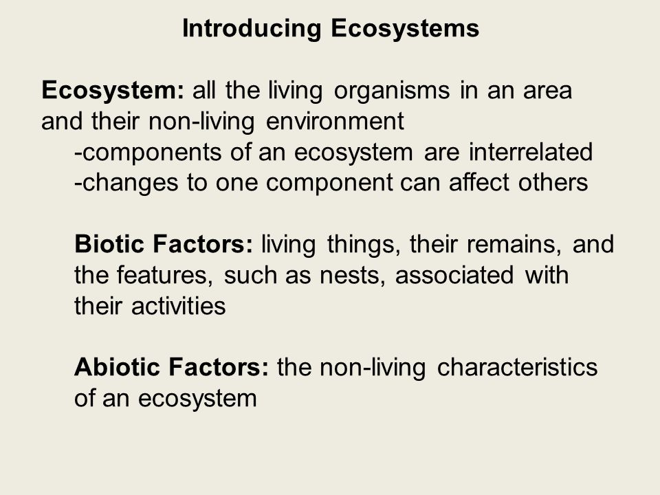 Introducing Ecosystems species: individuals who can breed together to make fertile offspring