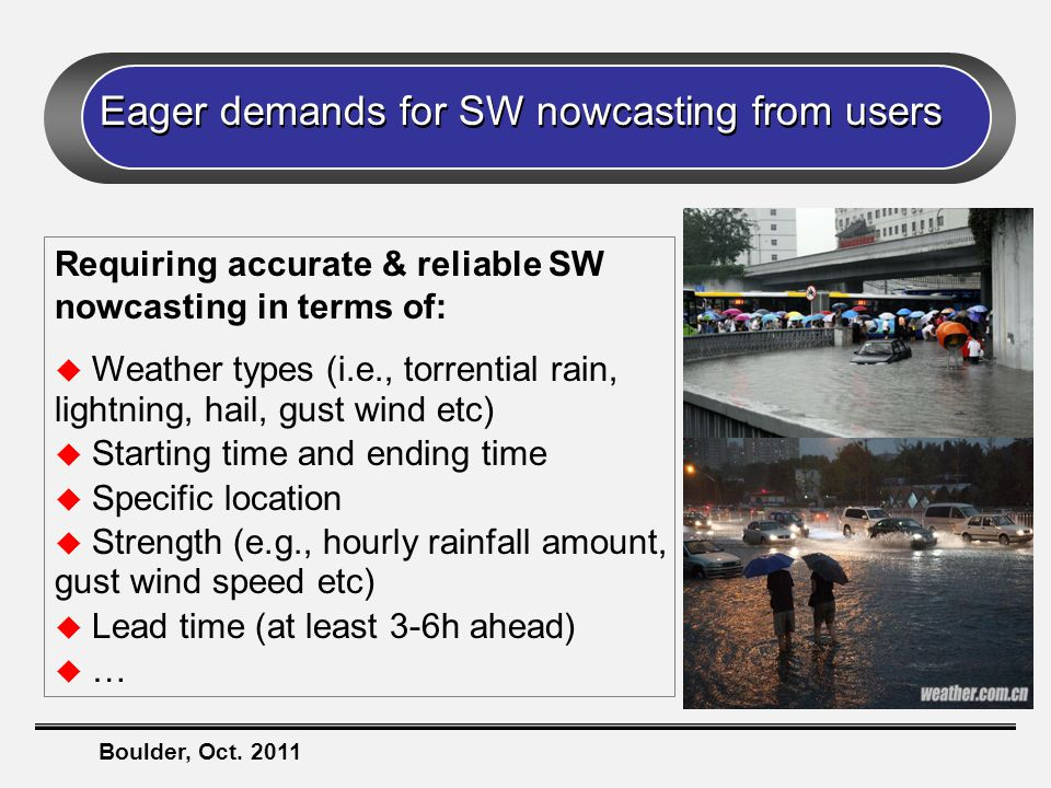 Boulder, Oct. 2011 Eager demands for SW nowcasting from users Requiring accurate & reliable SW nowcasting in terms of:  Weather types (i.e., torrenti