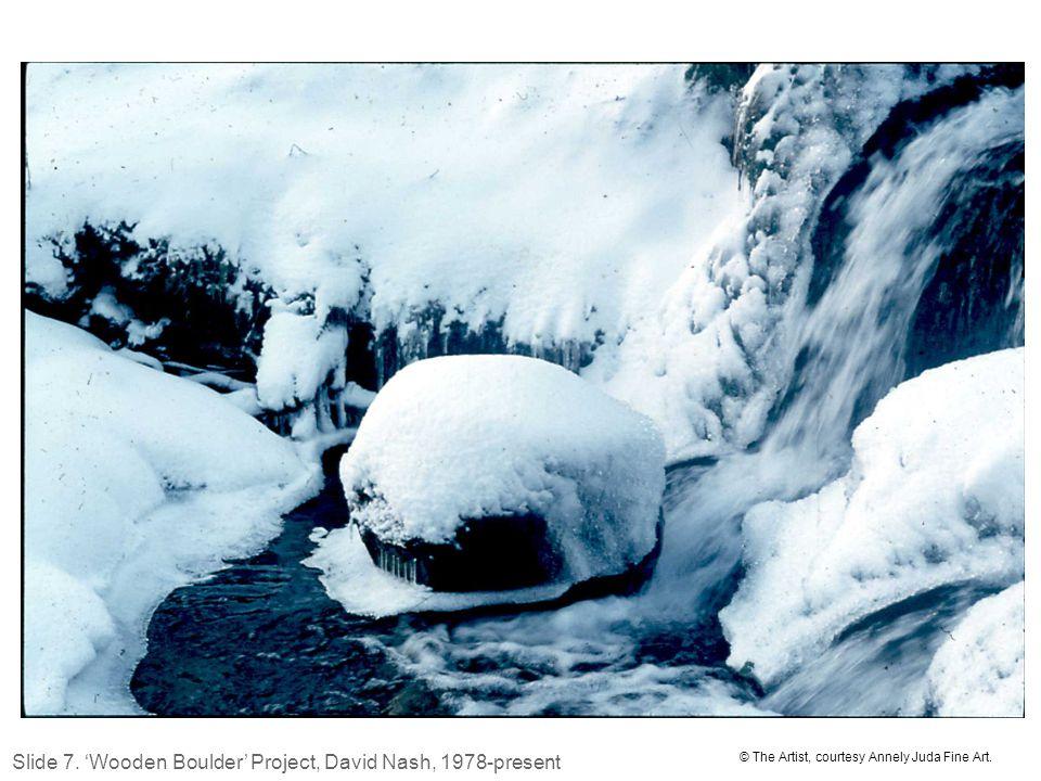 David Nash 'Wooden Boulder in snow' © The Artist, courtesy Annely Juda Fine Art.