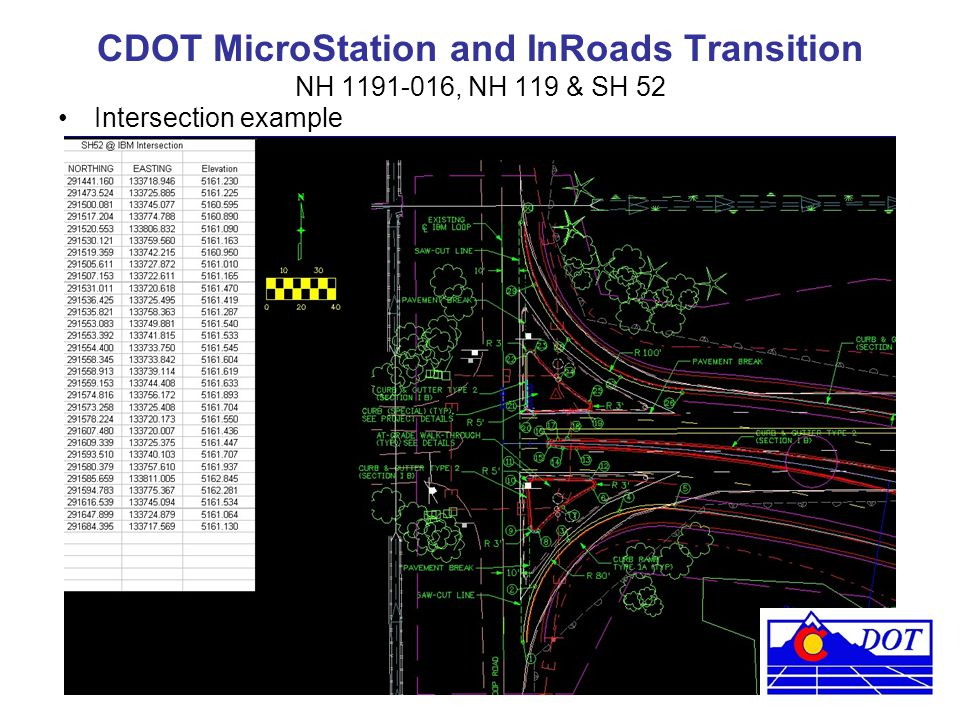 CDOT MicroStation and InRoads Transition NH 1191-016, NH 119 & SH 52 Intersection example