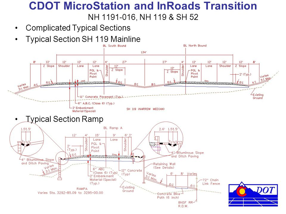 CDOT MicroStation and InRoads Transition NH 1191-016, NH 119 & SH 52 Complicated Typical Sections Typical Section SH 119 Mainline Typical Section Ramp