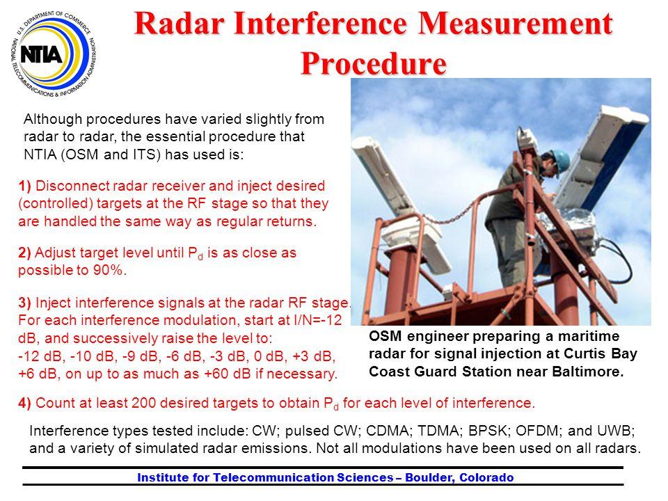 Institute for Telecommunication Sciences – Boulder, Colorado Although procedures have varied slightly from radar to radar, the essential procedure tha