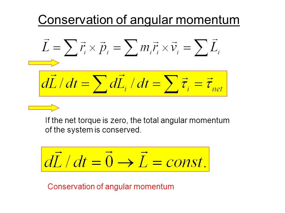 Conservation of angular momentum If the net torque is zero, the total angular momentum of the system is conserved. Conservation of angular momentum