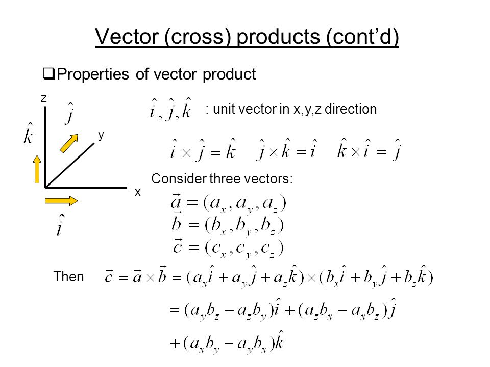 Vector (cross) products (cont'd)  Properties of vector product x y z : unit vector in x,y,z direction Consider three vectors: Then