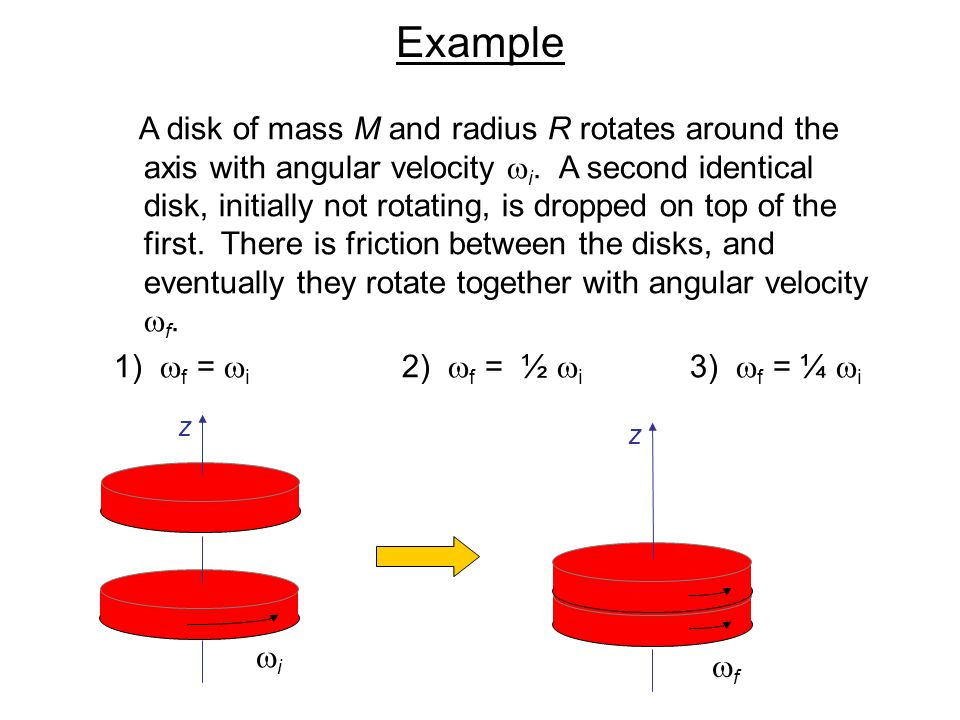 Example A disk of mass M and radius R rotates around the axis with angular velocity  i. A second identical disk, initially not rotating, is dropped o