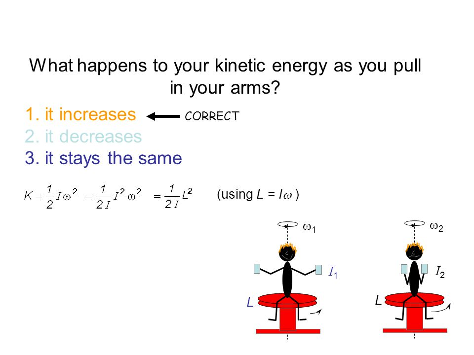 What happens to your kinetic energy as you pull in your arms? 1. it increases 2. it decreases 3. it stays the same CORRECT 11 22 I2I2 I1I1 L L (us