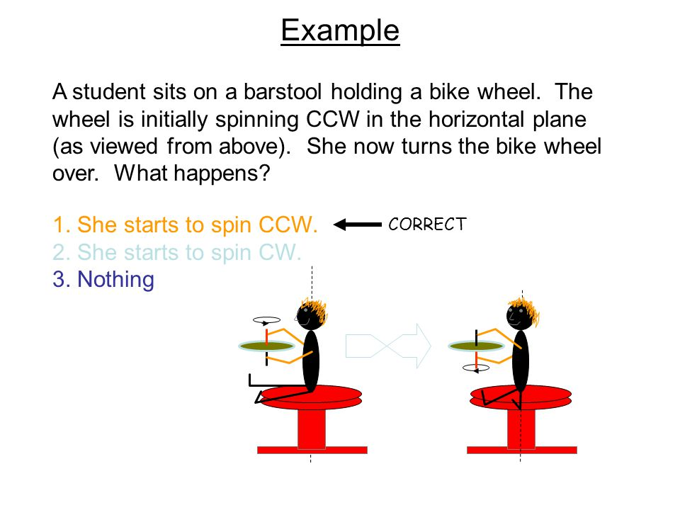 Example A student sits on a barstool holding a bike wheel. The wheel is initially spinning CCW in the horizontal plane (as viewed from above). She now