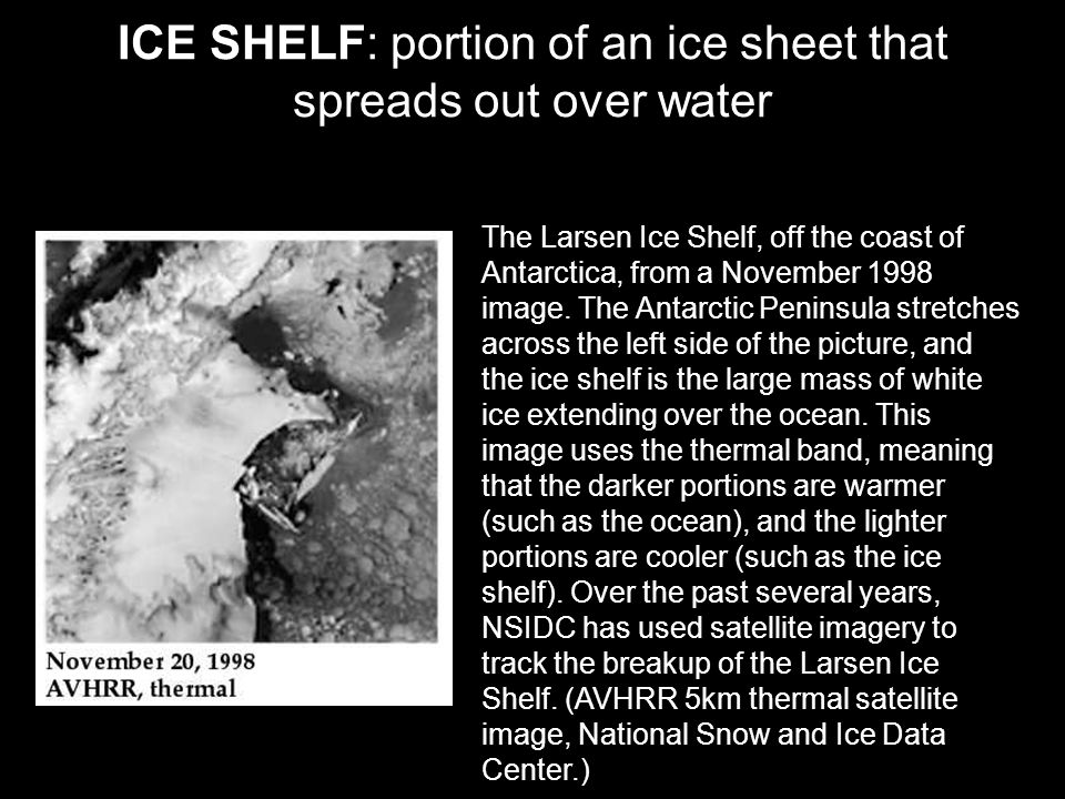 ICE SHELF: portion of an ice sheet that spreads out over water The Larsen Ice Shelf, off the coast of Antarctica, from a November 1998 image.