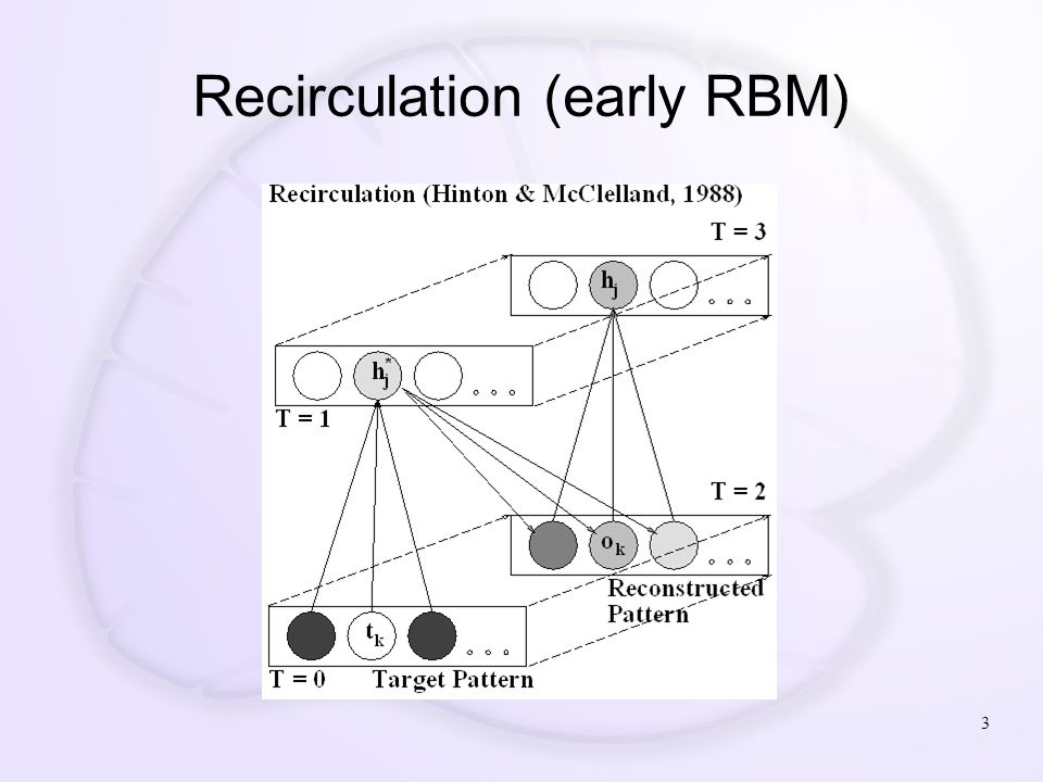 Generalized Recirculation (GeneRec) (O'Reilly, 1996 – see also Xie & Seung, 2003) 4