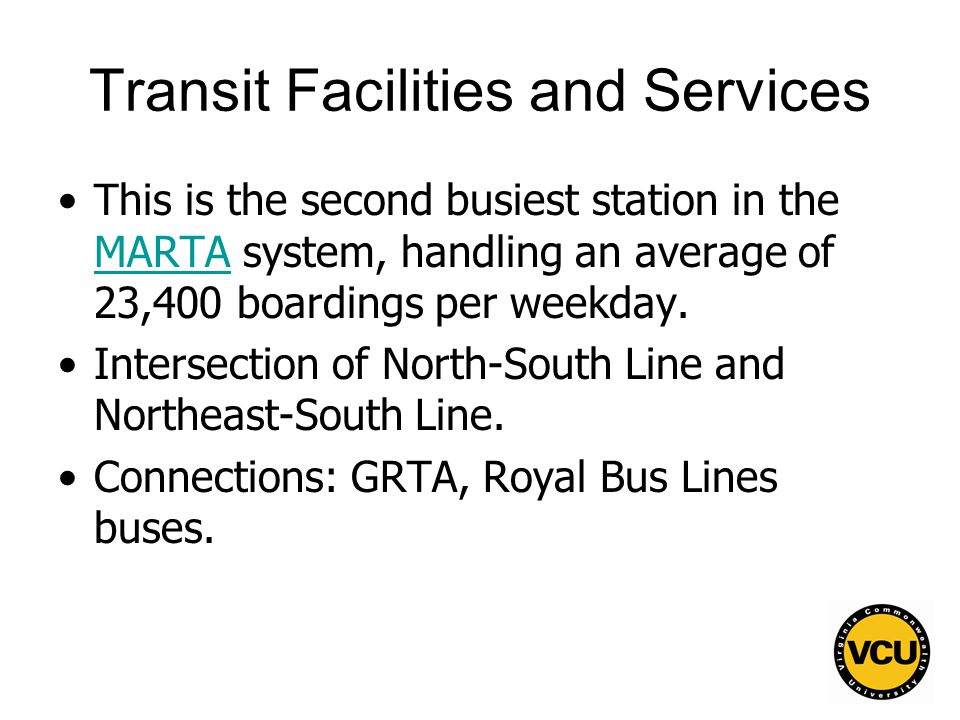 137 Transit Facilities and Services This is the second busiest station in the MARTA system, handling an average of 23,400 boardings per weekday.