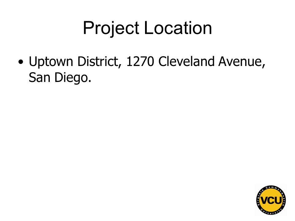 39 Project Location Uptown District, 1270 Cleveland Avenue, San Diego.