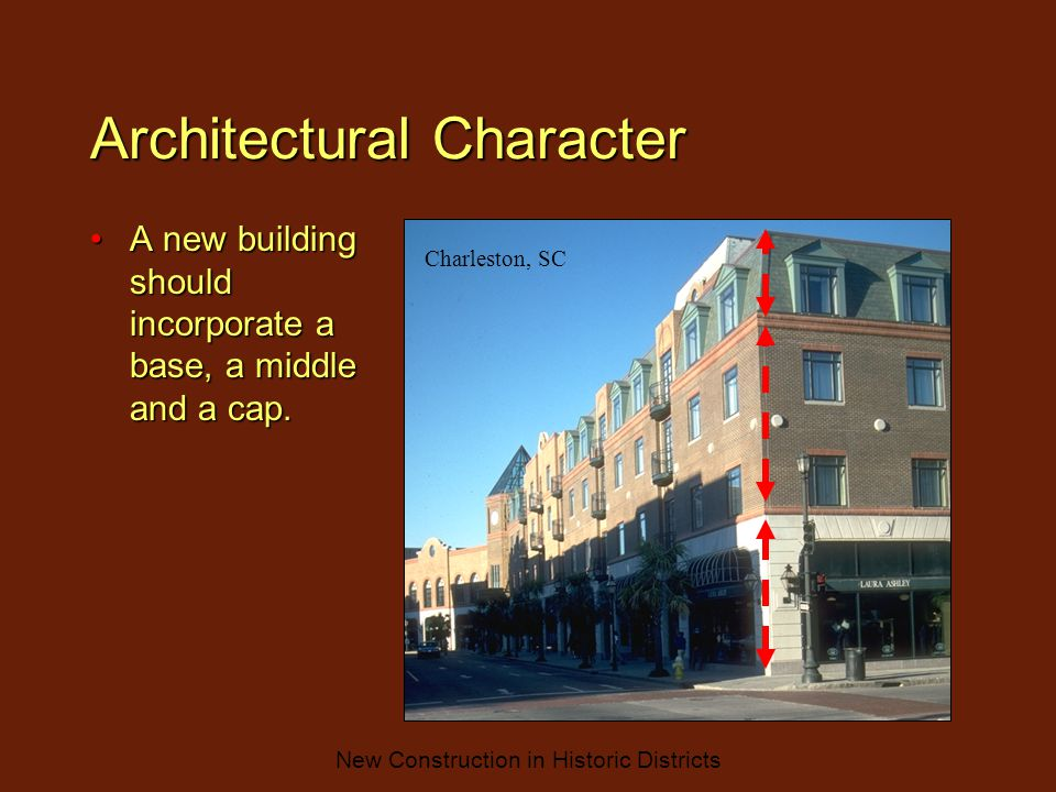 New Construction in Historic Districts Architectural Character A new building should incorporate a base, a middle and a cap.A new building should incorporate a base, a middle and a cap.