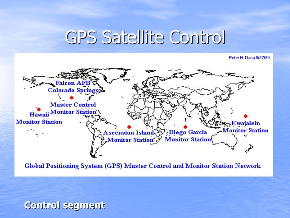 GPS Satellite Control Control segment