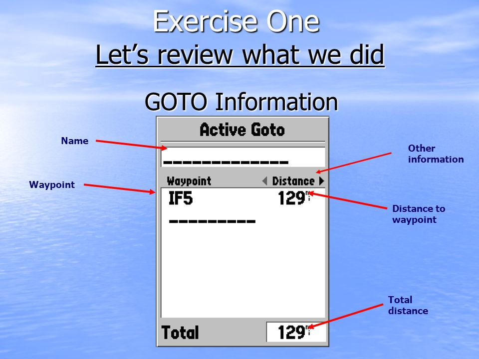 Exercise One Let's review what we did Distance to waypoint Waypoint Total distance Other information Name GOTO Information