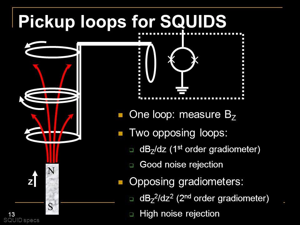 13 Pickup loops for SQUIDS One loop: measure B Z Two opposing loops:  dB Z /dz (1 st order gradiometer)  Good noise rejection Opposing gradiometers: