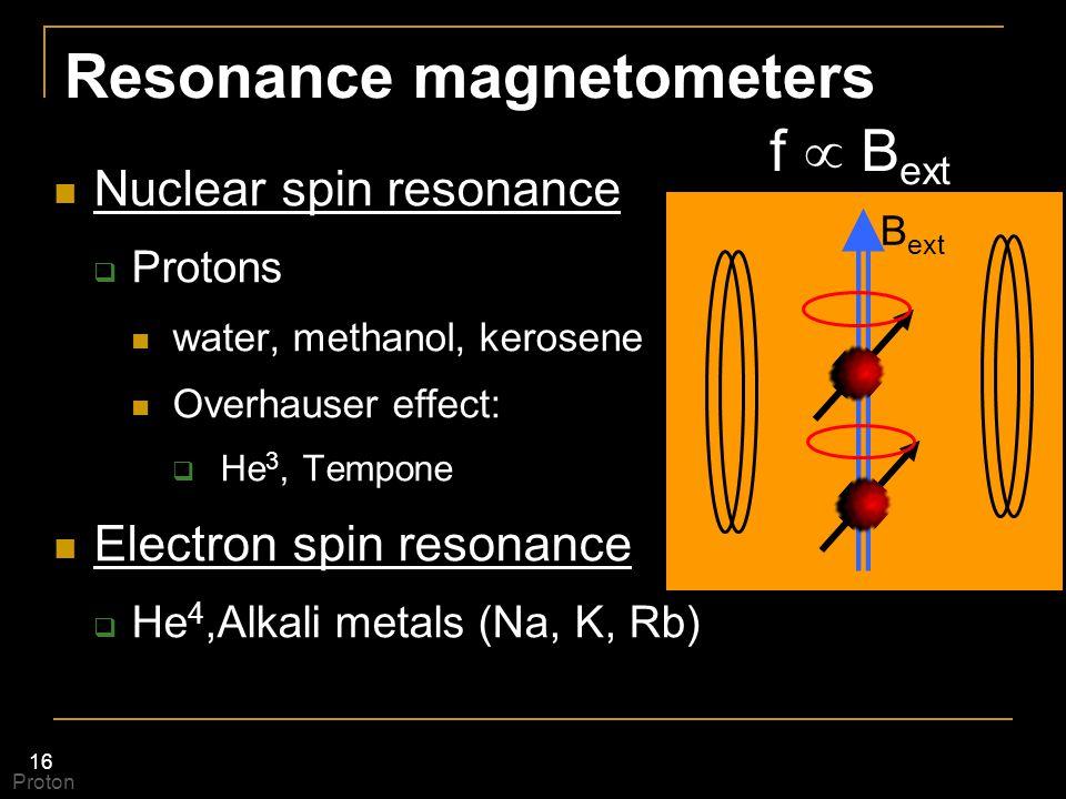 16 Resonance magnetometers Nuclear spin resonance  Protons water, methanol, kerosene Overhauser effect:  He 3, Tempone Electron spin resonance  He