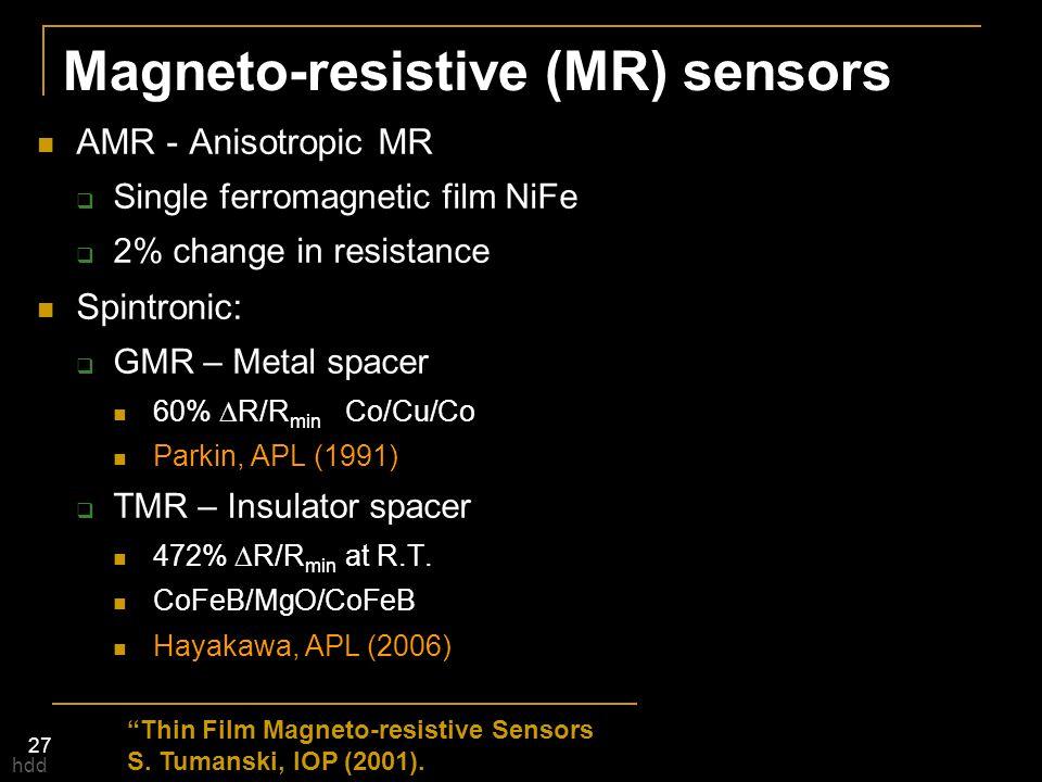 "27 ""Thin Film Magneto-resistive Sensors S. Tumanski, IOP (2001). Magneto-resistive (MR) sensors AMR - Anisotropic MR  Single ferromagnetic film NiFe"