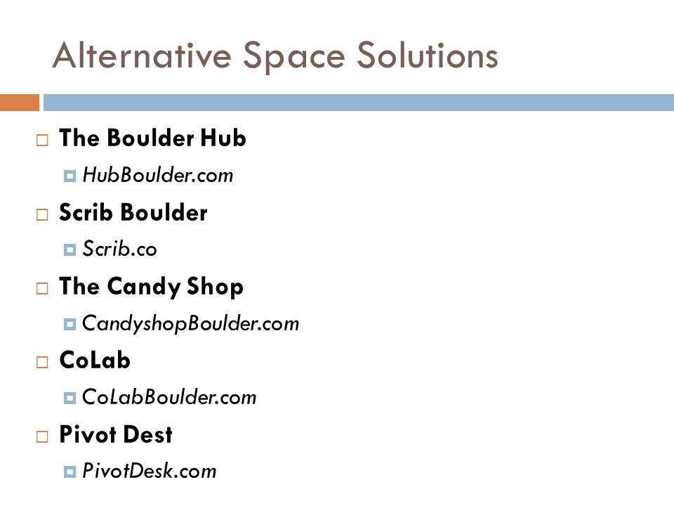 Alternative Space Solutions  The Boulder Hub  HubBoulder.com  Scrib Boulder  Scrib.co  The Candy Shop  CandyshopBoulder.com  CoLab  CoLabBoulder.com  Pivot Dest  PivotDesk.com