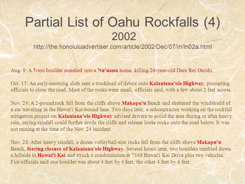 Partial List of Oahu Rockfalls (4) 2002 http://the.honoluluadvertiser.com/article/2002/Dec/07/ln/ln02a.html Aug.