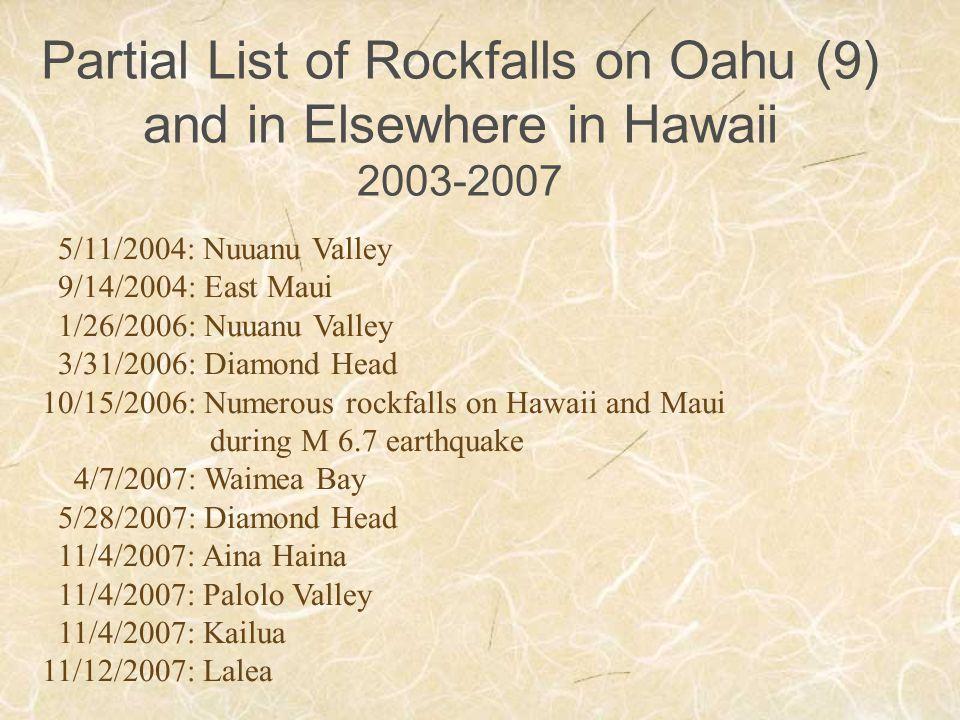 Partial List of Rockfalls on Oahu (9) and in Elsewhere in Hawaii 2003-2007 5/11/2004: Nuuanu Valley 9/14/2004: East Maui 1/26/2006: Nuuanu Valley 3/31/2006: Diamond Head 10/15/2006: Numerous rockfalls on Hawaii and Maui during M 6.7 earthquake 4/7/2007: Waimea Bay 5/28/2007: Diamond Head 11/4/2007: Aina Haina 11/4/2007: Palolo Valley 11/4/2007: Kailua 11/12/2007: Lalea