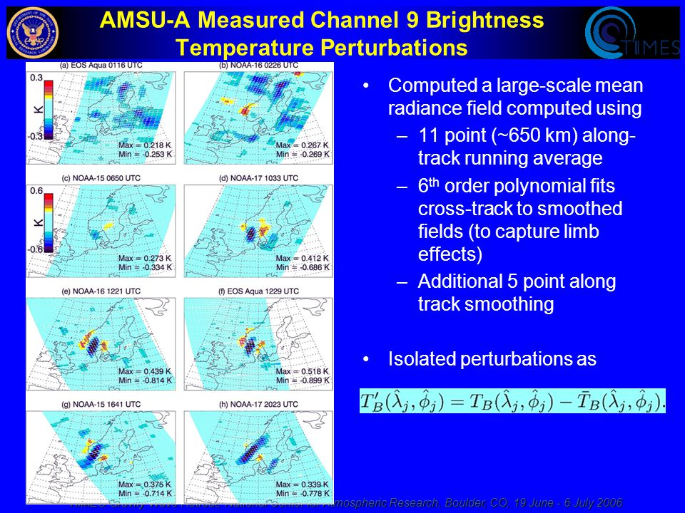 TIIMES Gravity Wave Retreat, National Center for Atmospheric Research, Boulder, CO, 19 June - 6 July 2006 AMSU-A Measured Channel 9 Brightness Temperature Perturbations Computed a large-scale mean radiance field computed using –11 point (~650 km) along- track running average –6 th order polynomial fits cross-track to smoothed fields (to capture limb effects) –Additional 5 point along track smoothing Isolated perturbations as