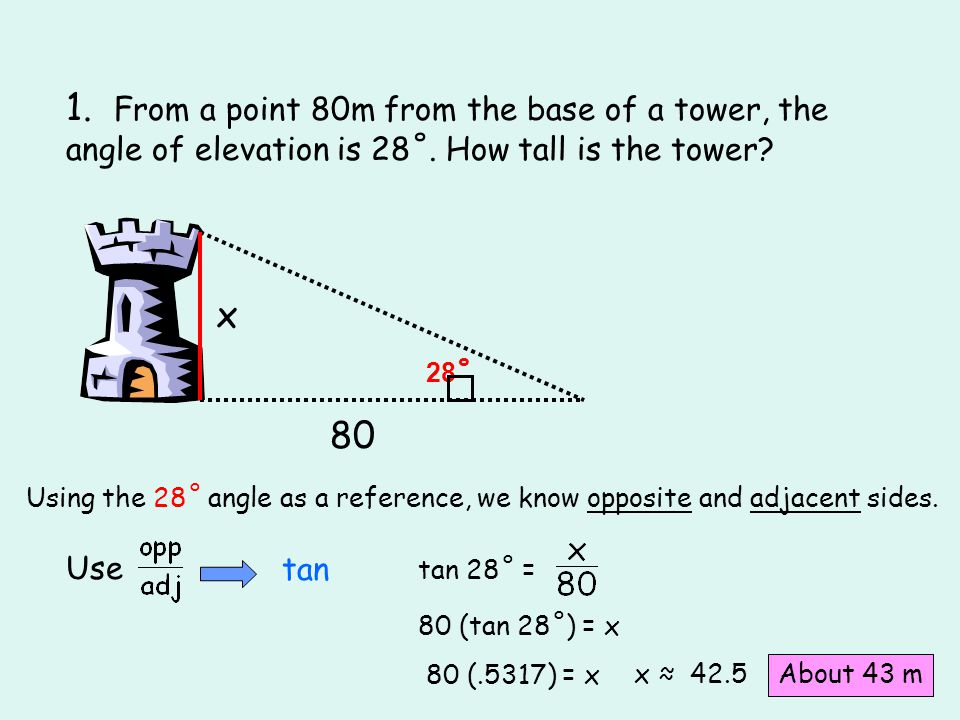 1. From a point 80m from the base of a tower, the angle of elevation is 28˚. How tall is the tower? 80 28 ˚ x Using the 28˚ angle as a reference, we k