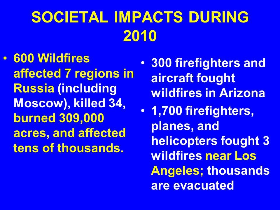 SOCIETAL IMPACTS DURING 2010 600 Wildfires affected 7 regions in Russia (including Moscow), killed 34, burned 309,000 acres, and affected tens of thousands.