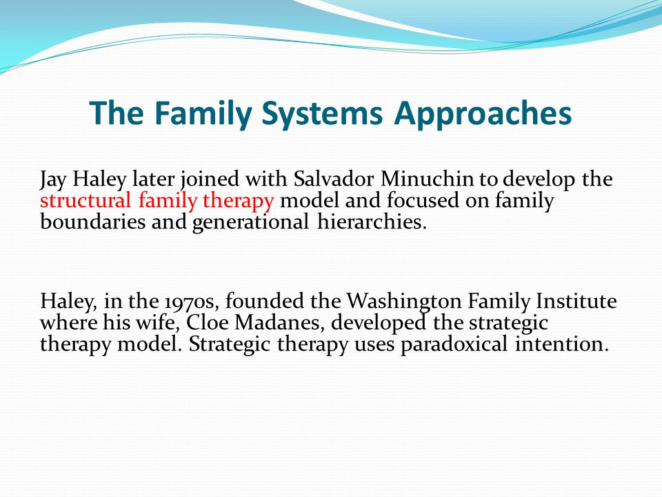 The Family Systems Approaches Jay Haley later joined with Salvador Minuchin to develop the structural family therapy model and focused on family boundaries and generational hierarchies.