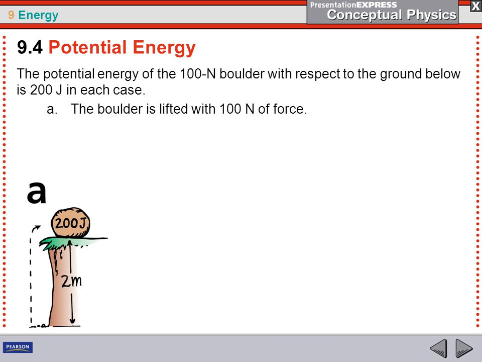 9 Energy The potential energy of the 100-N boulder with respect to the ground below is 200 J in each case.