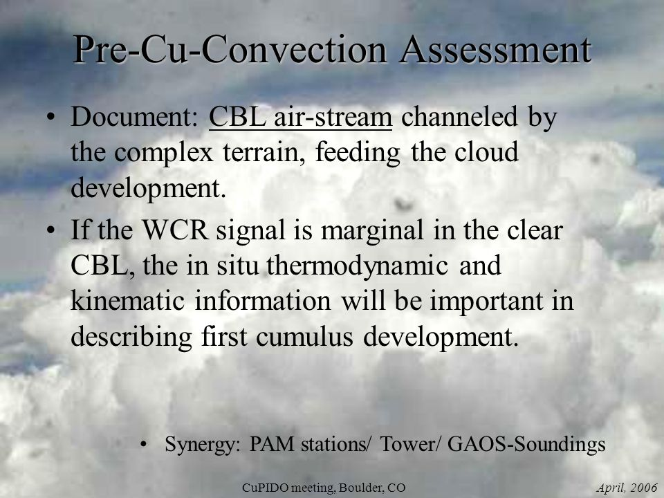 April, 2006CuPIDO meeting, Boulder, CO Pre-Cu-Convection Assessment Document: CBL air-stream channeled by the complex terrain, feeding the cloud development.