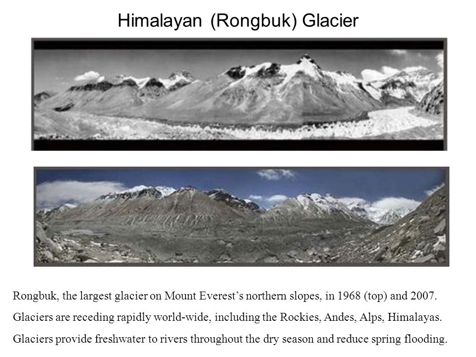 Himalayan (Rongbuk) Glacier Rongbuk, the largest glacier on Mount Everest's northern slopes, in 1968 (top) and 2007.