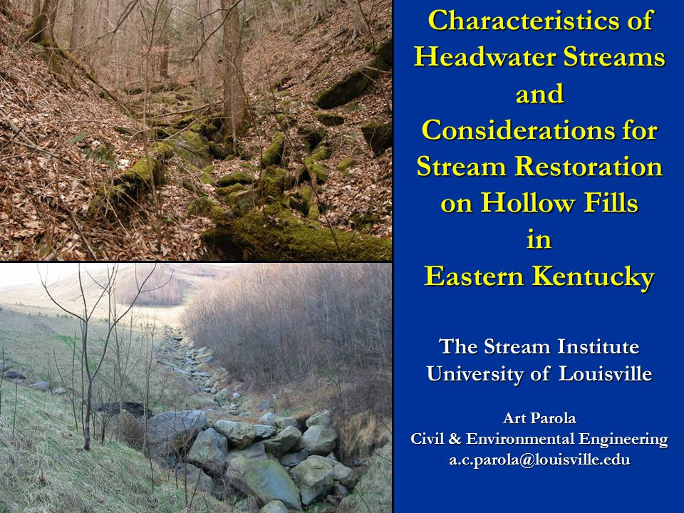 Characteristics of Headwater Streams and Considerations for Stream Restoration on Hollow Fills in Eastern Kentucky The Stream Institute University of