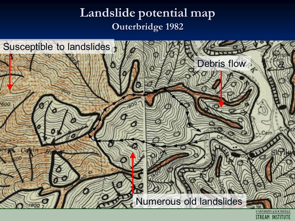 STREAM INSTITUTE Landslide potential map Outerbridge 1982 Debris flow Susceptible to landslides Numerous old landslides