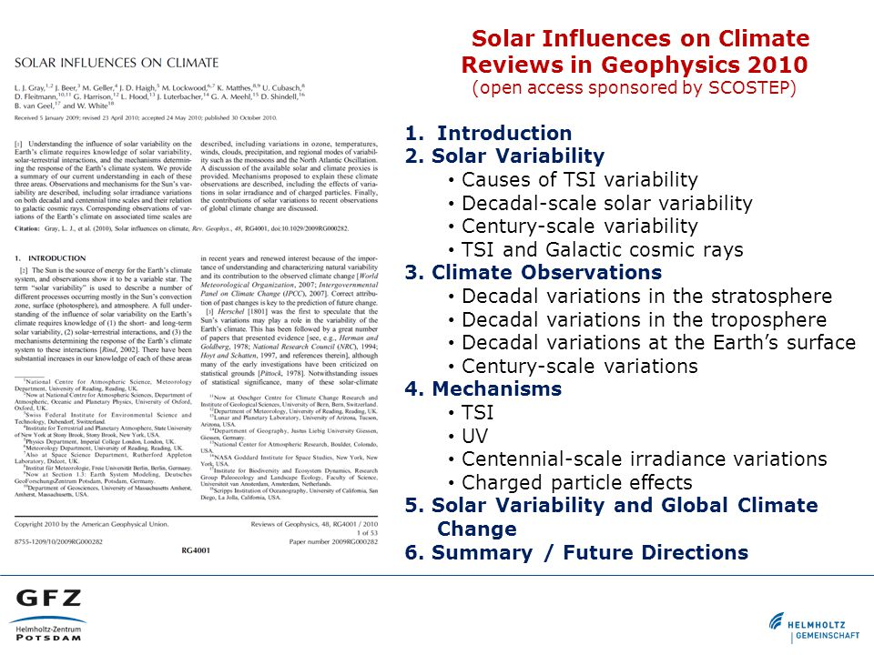 Solar Influences on Climate Reviews in Geophysics 2010 (open access sponsored by SCOSTEP) 1.Introduction 2.