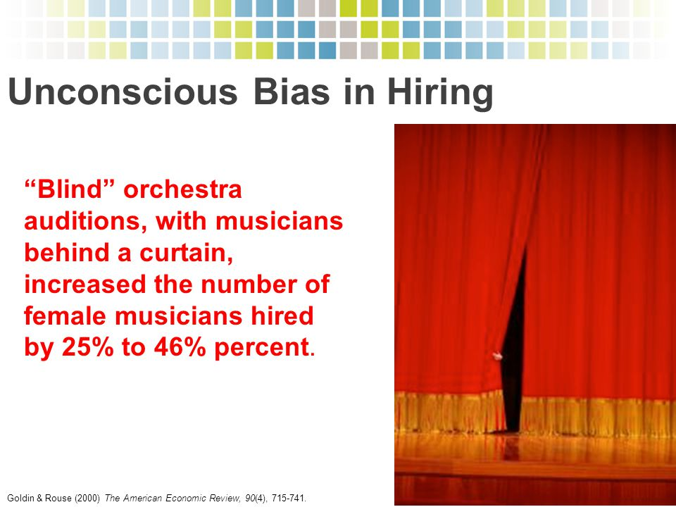"""""""Blind"""" orchestra auditions, with musicians behind a curtain, increased the number of female musicians hired by 25% to 46% percent. Goldin & Rouse (20"""