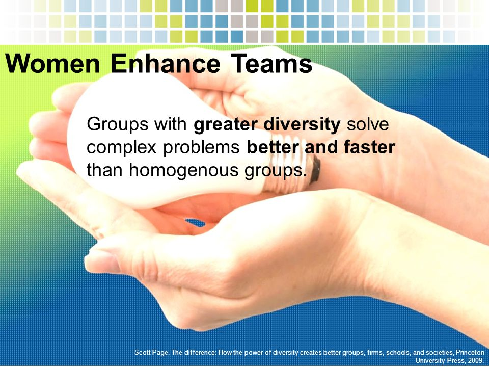 Women Enhance Teams Scott Page, The difference: How the power of diversity creates better groups, firms, schools, and societies, Princeton University Press, 2009.