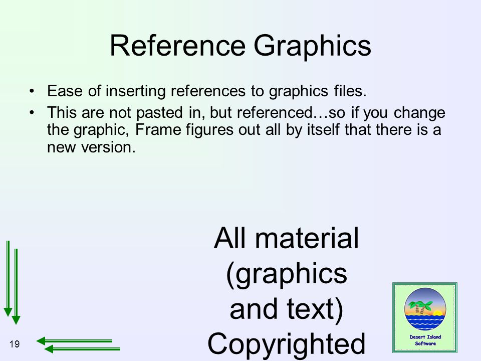 19 All material (graphics and text) Copyrighted Jan, 2007, by Bill Holtsnider Reference Graphics Ease of inserting references to graphics files.