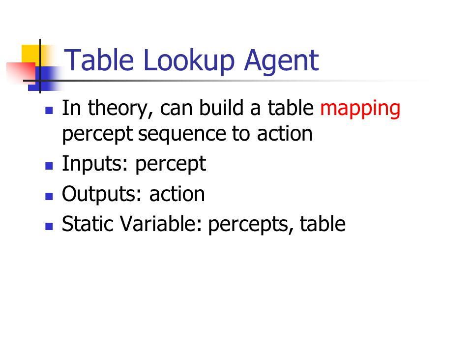 Table Lookup Agent In theory, can build a table mapping percept sequence to action Inputs: percept Outputs: action Static Variable: percepts, table