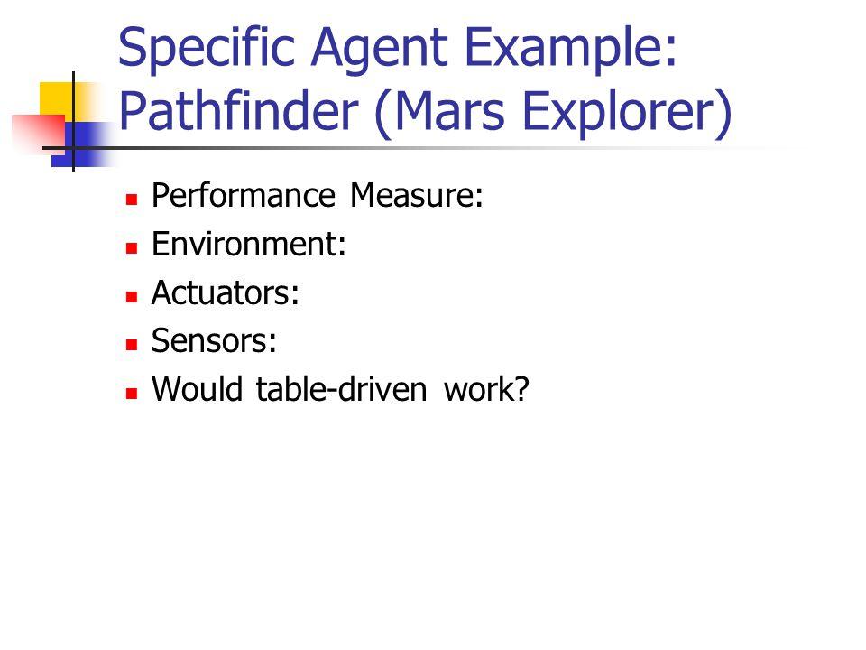 Specific Agent Example: Pathfinder (Mars Explorer) Performance Measure: Environment: Actuators: Sensors: Would table-driven work?