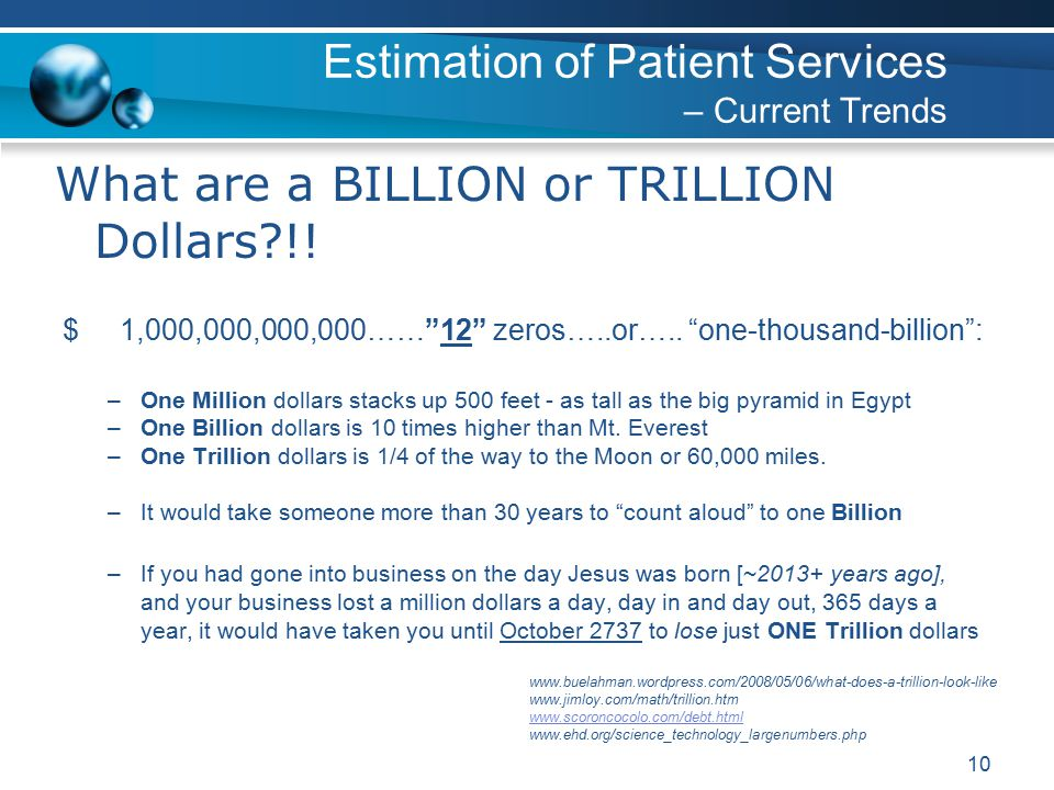 10 What are a BILLION or TRILLION Dollars !. $ 1,000,000,000,000…… 12 zeros…..or…..
