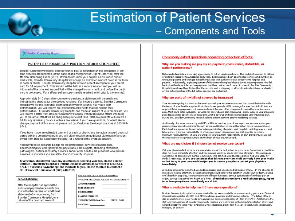 41 Estimation of Patient Services – Components and Tools